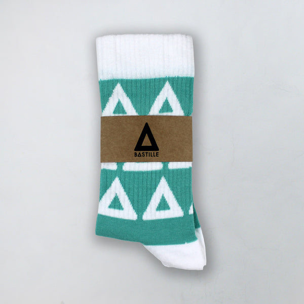 BASTILLE REPEAT LOGO TEAL SOCKS