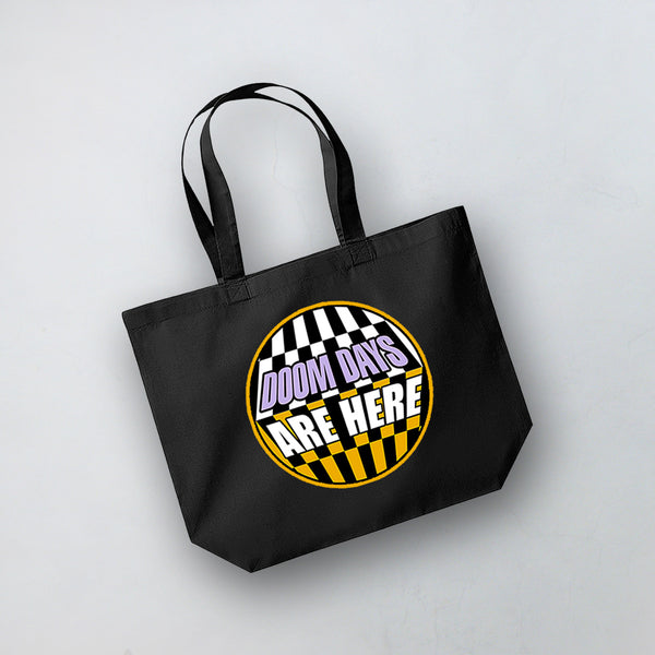 DOOM DAYS CIRCLE BLACK TOTE BAG