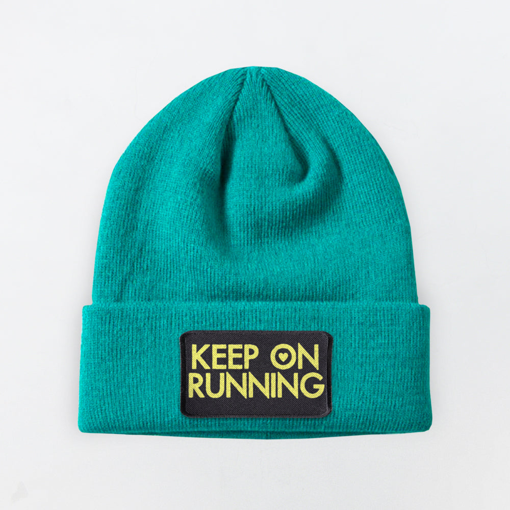 KEEP ON RUNNING PATCH EMERALD BEANIE