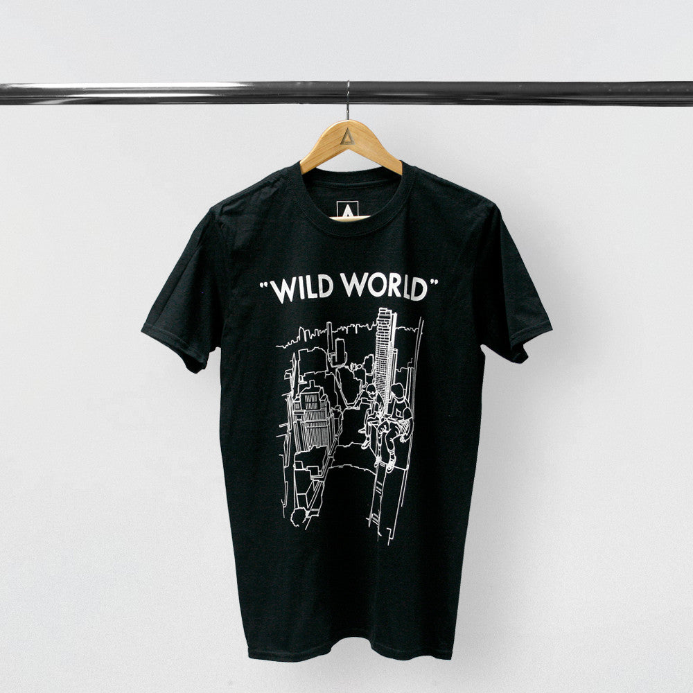 Black t shirt mens - Bastille Mens Wild World Drawing Black Tee