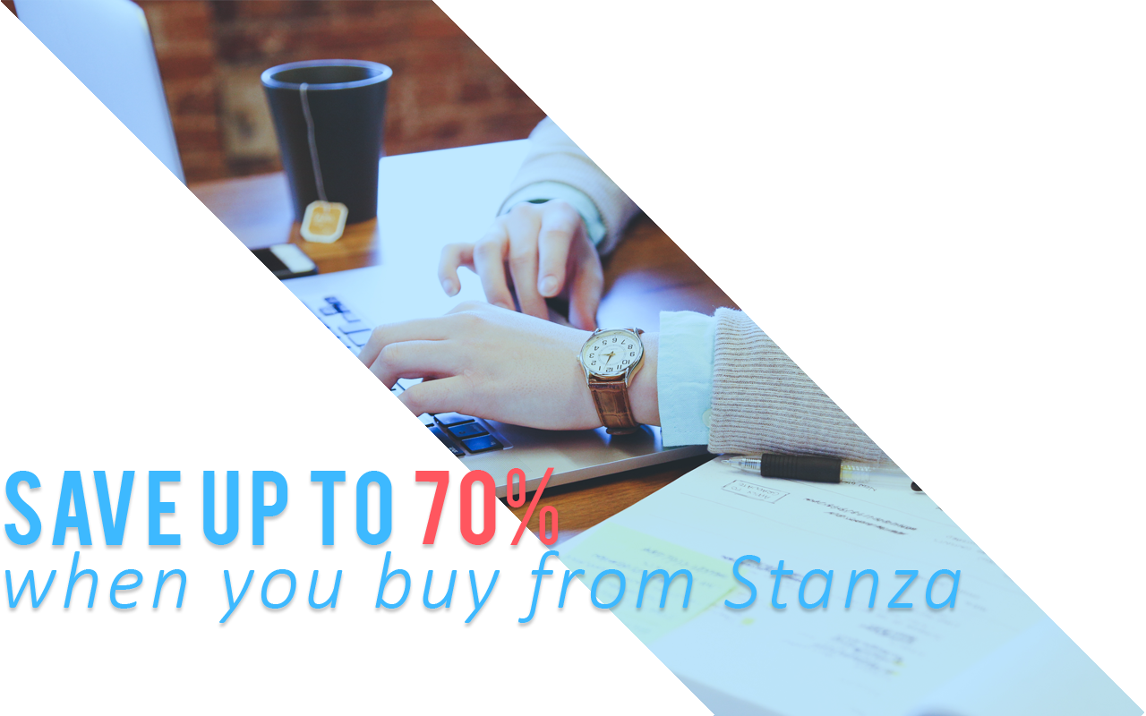 Image: Save up to 70% when you buy textbooks from Stanza.