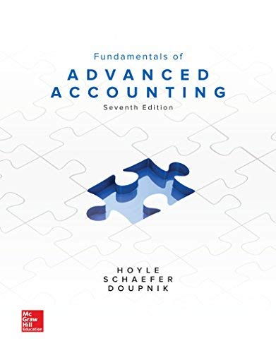 Textbook: Fundamentals of Advanced Accounting (7th Edition) by Joe Ben Hoyle