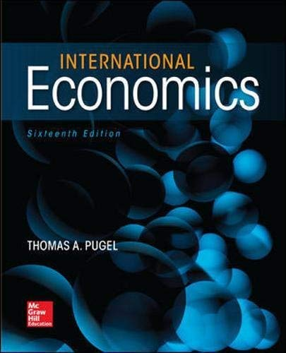 Textbook: International Economics (16th Edition) by Pugel, Thomas