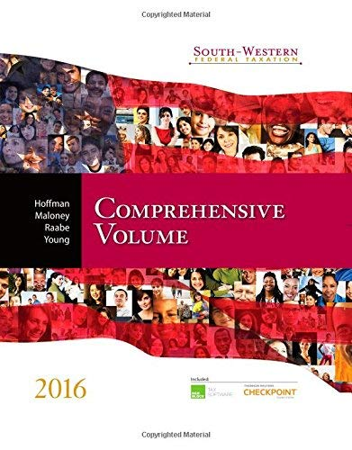 Textbook: South-Western Federal Taxation 2016: Comprehensive Volume by Boyd, James H.
