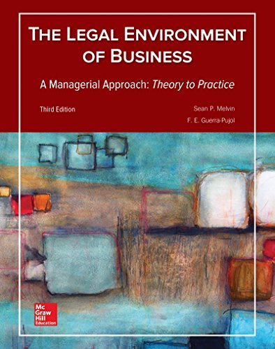 Textbook: Legal Environment of Business, A Managerial Approach: Theory to Practice (3rd Edition) by Sean Melvin