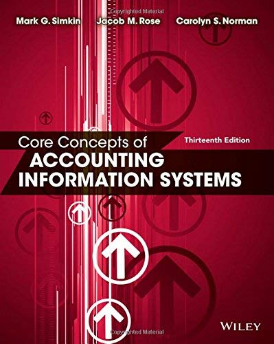 Textbook: Core Concepts of Accounting Information Systems (13th Edition) by Mark G. Simkin
