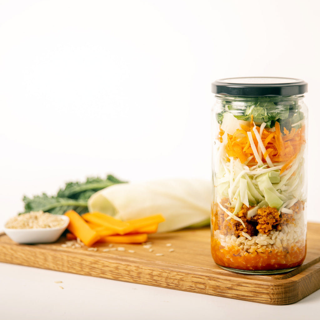 Spicy Pork Bibimbap Meal in a Jar