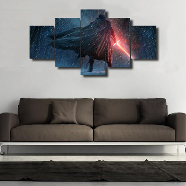 Star Wars Kylo Ren, 5 Panel Framed Canvas Art - Geek Bling