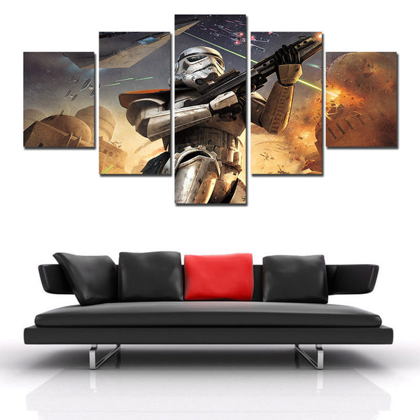 Star Wars Storm Trooper, 5 Panel Framed Canvas Art - Geek Bling