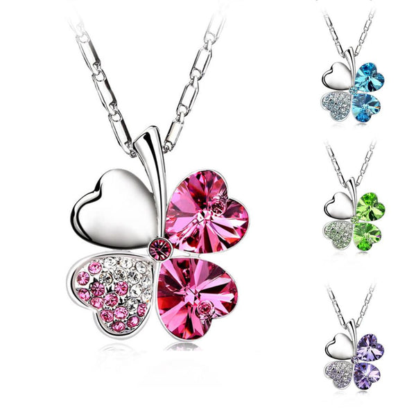 Four Leaf Clover Crystals Pendant Necklace - Geek Bling