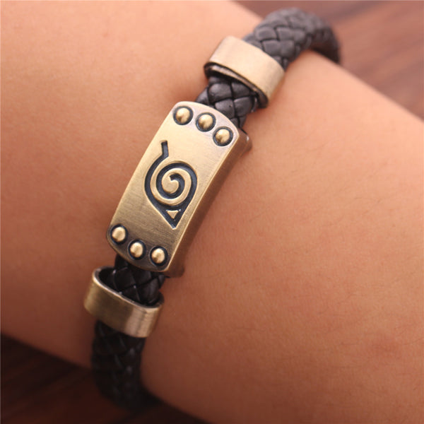 Naruto Bronze Plated Leather Bracelet - Geek Bling