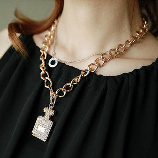 Crystal Perfume Bottle Pendant Necklace - Geek Bling