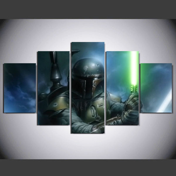 Star Wars Bobba Fett, 5 Panel Framed Canvas Art - Geek Bling