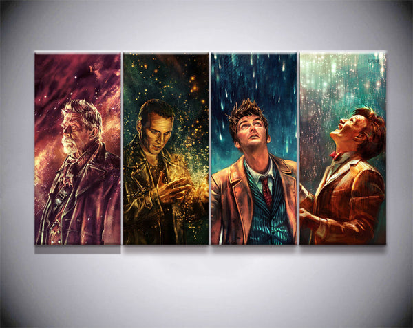 "Dr Who ""The Doctor"" Series, 4 Piece Canvas Framed Wall Art - Geek Bling"