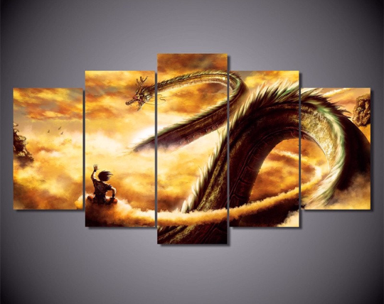 Dragon Ball Z Goku Shenron 5 Piece Framed Canvas Art
