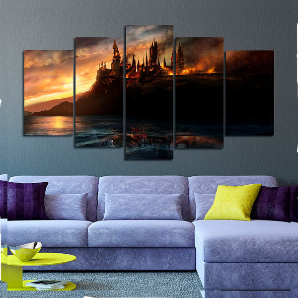 Harry Potter Hogwarts on Fire, 5 Panel Framed Canvas Art