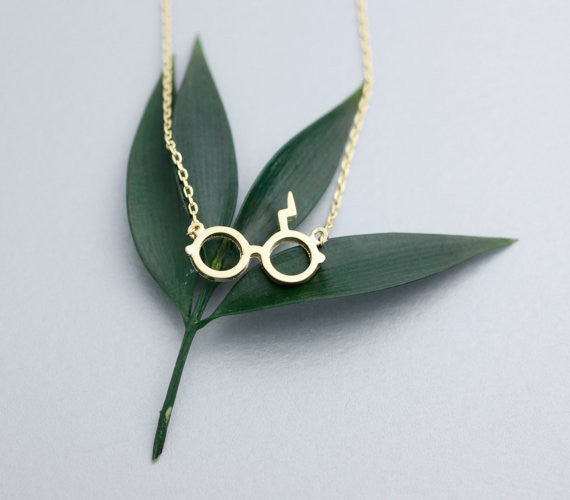 Harry Potter Glasses with Lightning Scar Necklace - Geek Bling