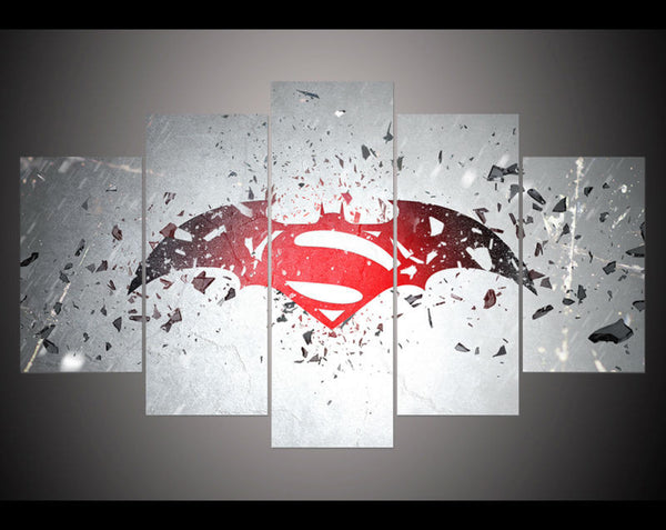 5 panel large HD printed oil painting batman v superman poster canvas print art home decor wall art pictures for living room - Geek Bling