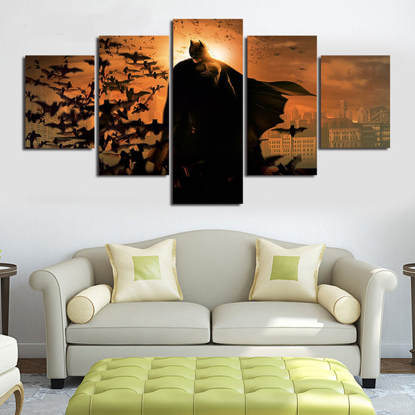 Batman Begins, 5 Panel Framed Canvas Print