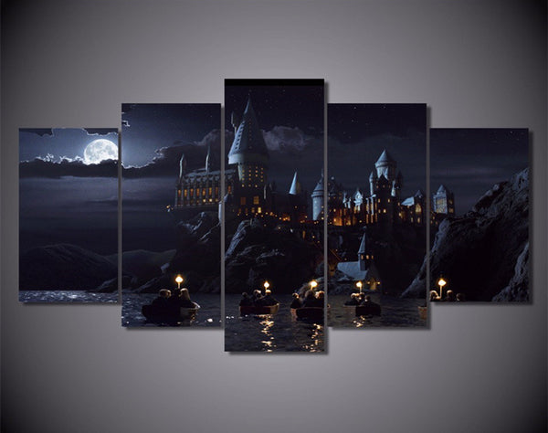 Harry Potter Hogwarts, 5 Panel Framed Canvas Wall Art - Geek Bling