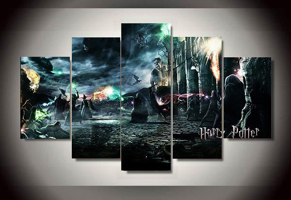 Harry Potter and the Deathly Hallows Movie, 5 Panel Framed Canvas Art - Geek Bling