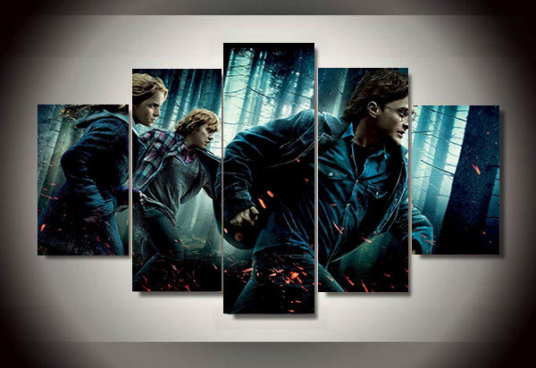 Harry Potter Deathly Hallows, 5 Panel Framed Canvas Wall Art - Geek Bling