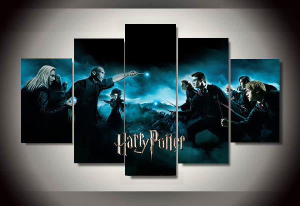 Harry Potter Deathly Hallows Movie Poster, 5 Panel Framed Canvas Art