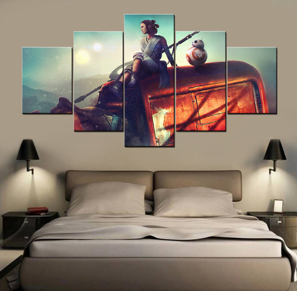 Star Wars The Force Awakens Rey BB8, 5 Panel Framed Canvas Art