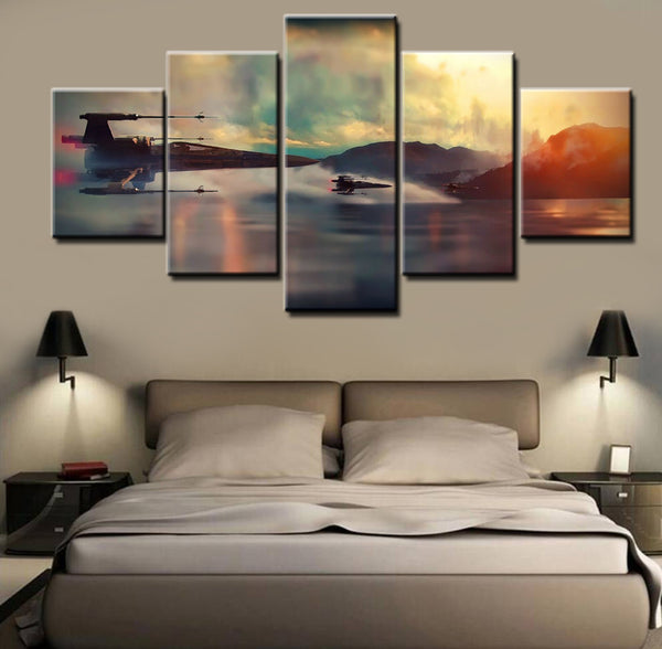 Star Wars X-Wing Fighter, 5 Panel Framed Canvas Art - Geek Bling