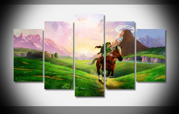 Legend Of Zelda Poster Art, 5 Piece Framed Canvas Art - Geek Bling