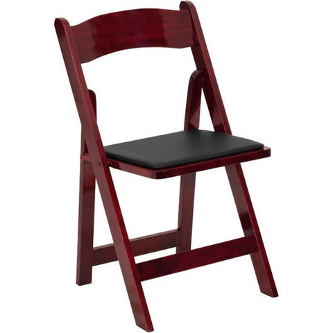 MAHOGANY WOOD PADDED FOLDING CHAIR