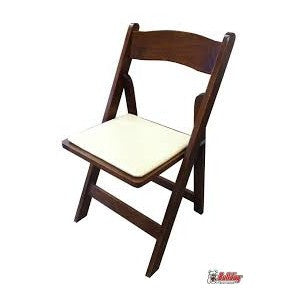 FRUITWOOD FOLDING CHAIR WITH IVORY PAD