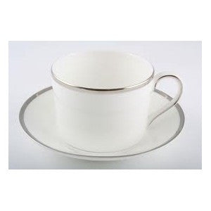 "WHITE WITH SILVER RIM CHINA CUP ""ONLY"""