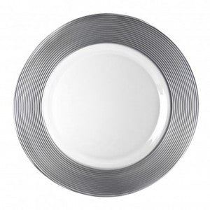 "SILVER MATTE 13"" GLASS CHARGER"