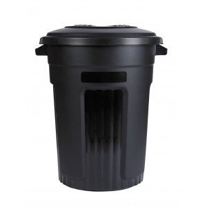 BLACK TRASH CAN WITH LINER