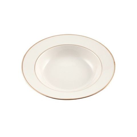 "6"" IVORY WITH GOLD RIM CHINA SOUP BOWL"