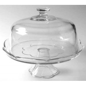 GLASS PEDESTAL CAKE STAND W/LID