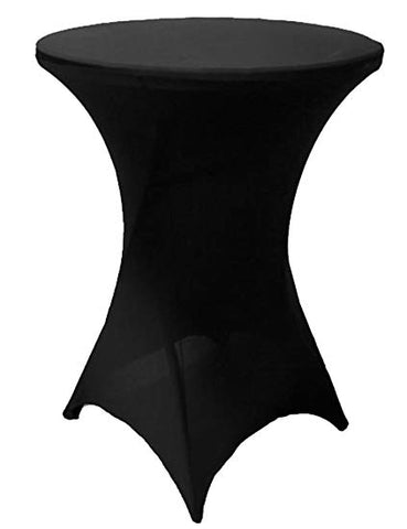 "BLACK SPANDEX COCKTAIL COVERS 32""RND X 43""T"