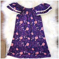 Purple and Roses- Short Sleeve Dress (Pete+Lucy)