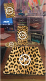 4 Piece Matching Desk Set- Cheetah Print Pattern