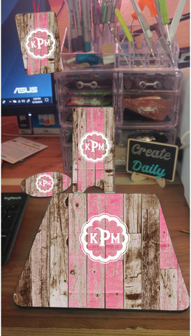 4 Piece Matching Desk Set- Pink Rustic Wood Pattern