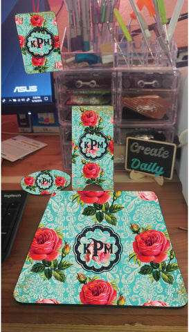 4 Piece Matching Desk Set- Roses & Blue Pattern