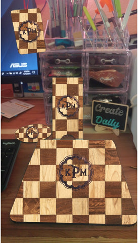 4 Piece Matching Desk Set- Wood Check Pattern