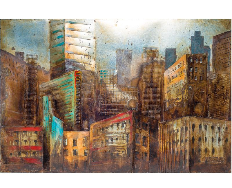 Urban City LIfe Metal Wall Art