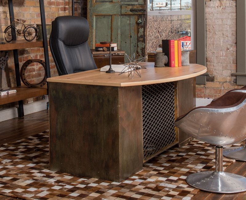 Urban-Industrial Bow Front Executive Desk