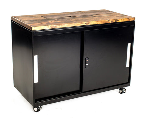 Mobile Storage Cabinet with Reclaimed Wood Top