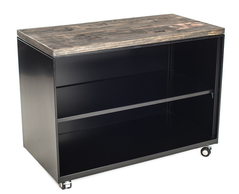 Metal Shelf Cabinet with Dark Reclaimed Wood Top
