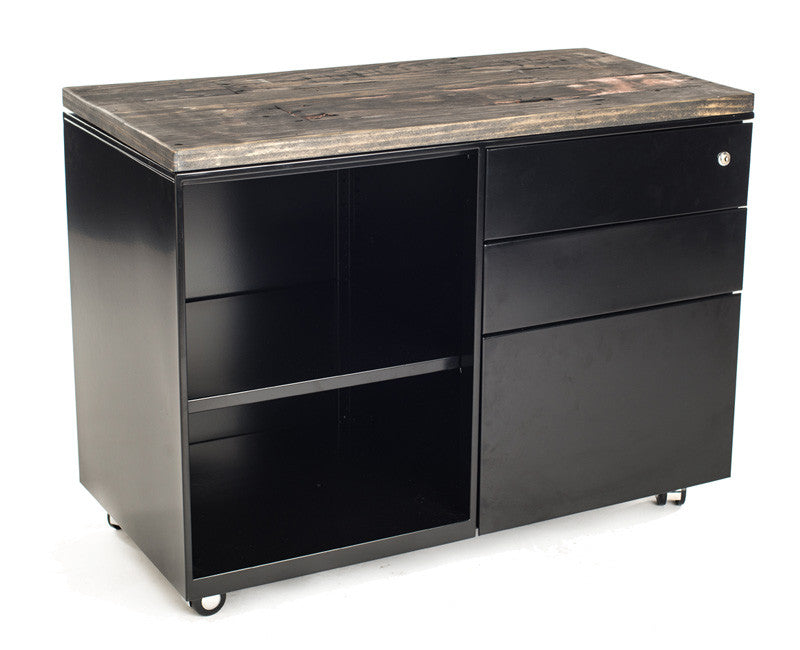 Mobile File Cabinet/Shelf with Wood Top