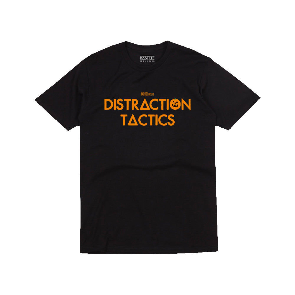 HALLOWEEN DISTRACTION TACTICS BLACK T-SHIRT