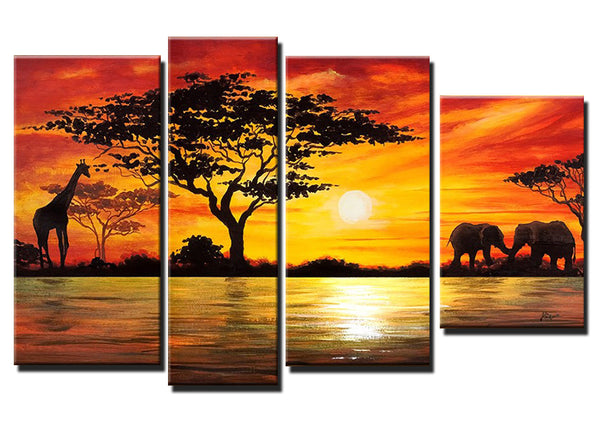 Large African Oil Painting Giraffe Amp Elephant 52x30in